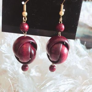 NWT Viktoria Hayman Red Wood Earrings